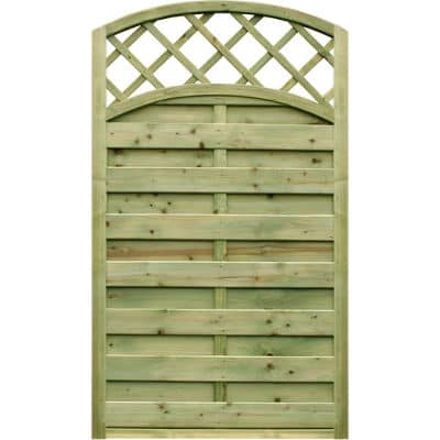 0.90m wide x 1.80m high Arched Gate with Lattice – Pressure Treated Green
