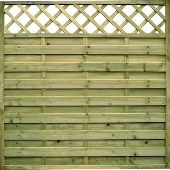 1.8m wide Horizontal Panel with Lattice Top – Pressure Treated Green