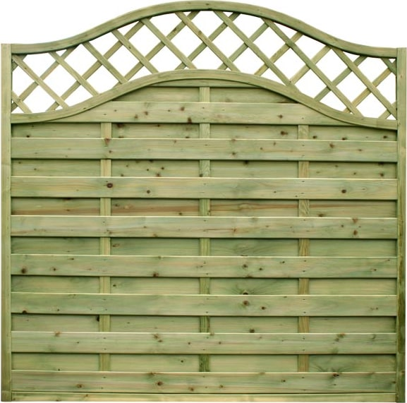 1.8m wide Omega Panel with Lattice Top – Pressure Treated Green