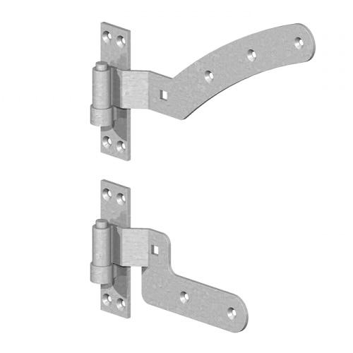 "12"" Left Hand Curved Rail Hinge Set (per pair) – Galv"