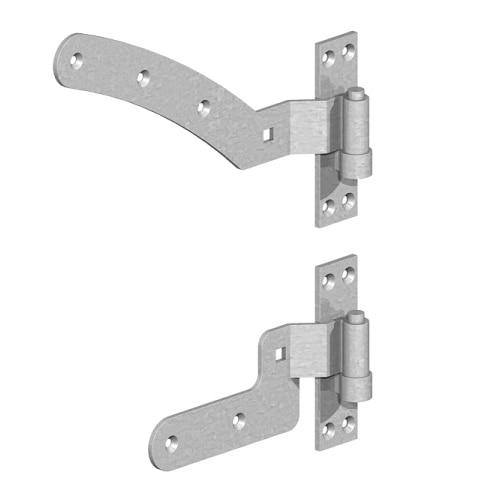 "12"" Right Hand Curved Rail Hinge Set (per pair) – Galv"