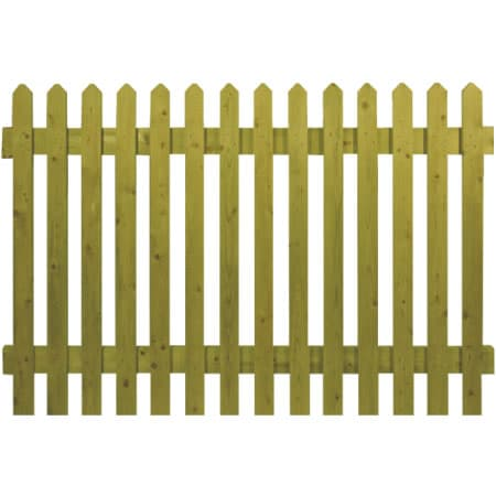 6′ wide Pointed Top Picket Panels – Pressure Treated Green