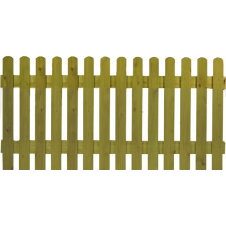 6′ wide Rounded Top Picket Panels – Pressure Treated Green