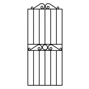 Swirl Top Tall Metal Gate - Powder Coated Black